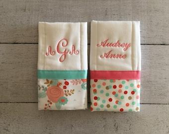 Baby Burp Cloth Set of 2, Baby Shower Gift, Newborn Gift