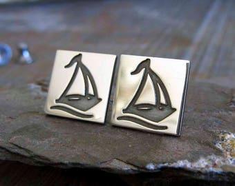 Sail Boat stud earrings. Sterling Silver Salior posts. Yacht jewelry. Sailboat Nautical Sailing life. 7 Seas ocean earrings. Boating hobby.