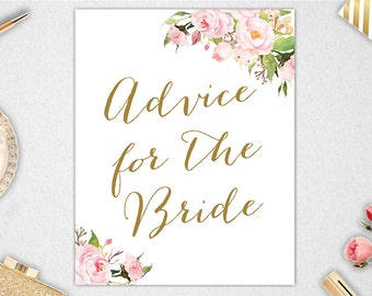 Advice for the Bride Sign INSTANT DOWNLOAD // 8x10 // 5x7 // Bridal Shower // Wedding // Printable #PBP85