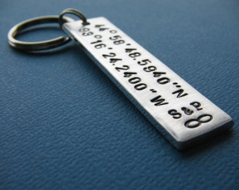 Custom Coordinates Keychain, Latitude Longitude Keychain, Couples Gift, Hand Stamped Keychain, Gift for Her, Gift for Him, Anniversary Gift