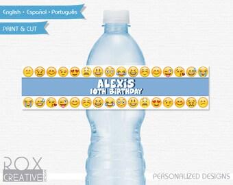 Emoji Water Labels, Emoji Printable Labels, Digital - Customized