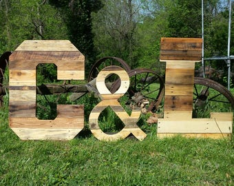 """32"""" tall pallet letters, 24"""" tall ampersand sign, & sign, reclaimed wood, pallet wood, standing letters, Rustic Wedding decor, home decor,"""