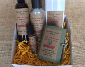Mens Gift Set - Woodsy Scent - All Natural Deodorant, Oil, Soap, Spray, Bodywash made with Essential Oils, Cedarwood, Fir Needle ,Orange