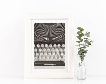 Still Life Photography Vintage Typewriter Print Black and White Photography Industrial Decor Rustic Decor Letters Abstract Art
