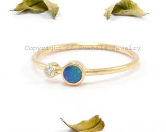 Solid 14k Yellow Gold Natural Opal & Diamond Handmade Wedding Band Stackable Ring Fine Jewelry
