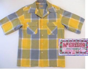 Vintage 50s 60s Shirt, Loop Collar Straight Bottom, Gray Yellow McGregor USA Small Diamond Label Cotton Blend Short Sleeve Rockabilly, Small