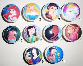 DISNEY! Ariel Aurora Belle Cinderella Jasmin Mulan Pocahontas Rapunzel Snow White Tiana! Decoupaged Hand Painted Wooden Door/Drawer Knobs