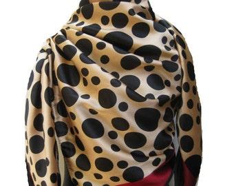 Fashion scarf/ polka dots scarf/ large scarf/ satin scarf/ green scarf/ multicolored scarf / gift ideas.