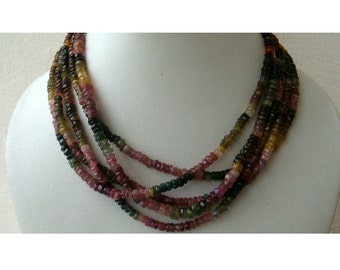 Multi Tourmaline Rondelles - 4mm Faceted Rondelles - 14 Inch Strand