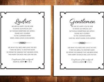Wedding Bathroom sign - Ladies Bathroom Sign - Gentlemen Bathroom Sign - Printable Wedding Bathroom Signs