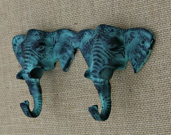 Double Elephant Wall Hook in Distressed Green