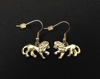 REGAL LION Charm Earrings Stainless Steel Ear Wire Silver Metal Unique Gift