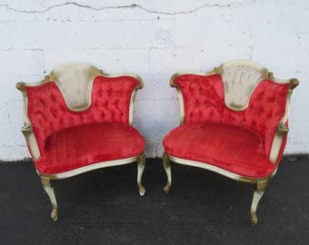 French Provincial Pair of Painted Caned Side Fireplace Chairs 8748