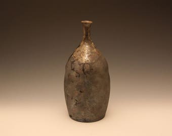 Silver Pit Fired Ceramic Bottle