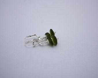 Green Sea Glass Earrings, Seaglass Earrings Beach Glass Earrings Sea Glass Jewelry Seaglass Jewelry Ocean Jewelry Hawaiian Jewelry Hawaii073