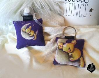 1 x fabric Keychain / bag Illustration Fennec Moon jewelry handmade