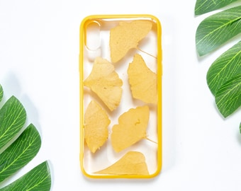 Yellow Gingko Leaf, Pressed Flower iPhone Bumper Cases for iPhone X, Real Flower Floral Foliage Botanical iPhone Case