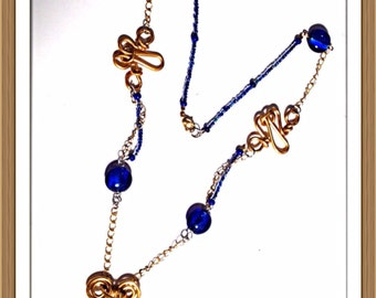 Handmade MWL gold forged wire design and venetian glass beaded necklace. 0157
