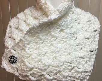 Neck Warmer, White, Crochet Scarf, Buttons, Cowl, Fall, Winter, Handmade, Gift for Him, Gift for Her, Christmas Gift