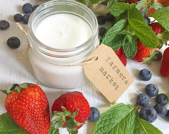 8 oz. Farmer's Market Hand Poured Pure Soy Candle with Cotton Wick