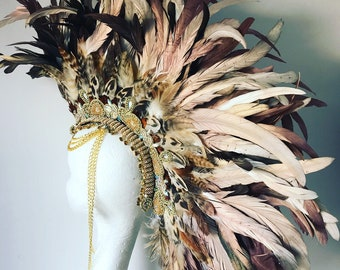 Natural and gold feather mohawk, feather headdress, burning man headdress, coachella feather headdress, feather mohawk, festival clothing
