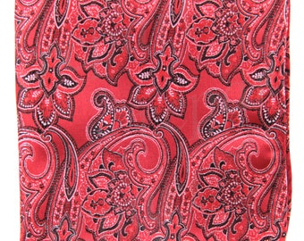 Men's Micro Fiber Paisley red Handkerchief, for Formal Occasions (569H)