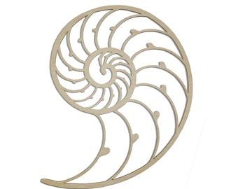 Nautilus Shell Wall Art - Raw Wood Home Decor