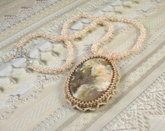 Embroidered Plume Agate Flower Pendant on Woven Bead Necklace