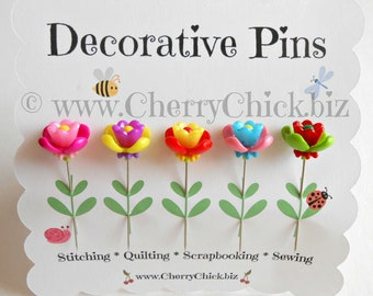 Sewing Pins - Flower Pins - Gift for Quilters - Decorative Sewing Pins - Scrapbooking Pins - Quilting Pins -  Fairy Garden Flowers