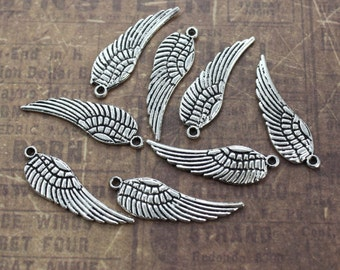 10 Angel Wing Charms Wing Pendants Antiqued Silver Double Sided  10 x 27 mm