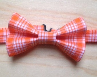Picnic time orange plaid bowtie