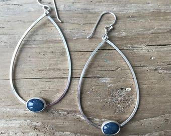 Sterling silver hammered teardrop Leland Blue Earrings