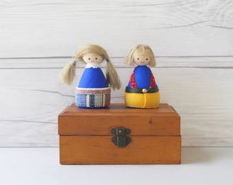 Vintage Small Pair of Hand Painted Wood Swedish Dolls with Hair, Vintage Wooden Swedish Folk Art Dolls