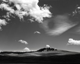 Hayden Valley and Clouds: An Archival Pigment Fine Art Print taken in Hayden Valley within Yellowstone National Park, Wyoming at Sunset