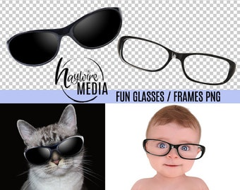 Photoshop Transparent PNG Overlay - Digital Glasses and Sunglasses Frames for Fun Photography Prop