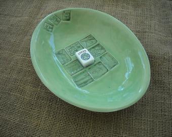 Bol de Mahjong - Mahjong vert poterie - Mahjong grand bol - Oriental - Oriental poterie - poterie artisanale - idée cadeau - Mahjong plat