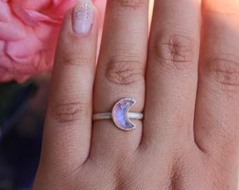 Pink moonstone crescent moon ring in shiny silver size 6.5