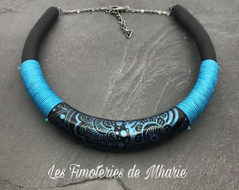 TORC / sulk screen blue polymer clay necklace