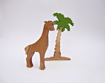 Set Animal Toy(giraffe) +Tree(palm) Waldorf  Toys Wooden Toys Learning Toys Birthday Gift