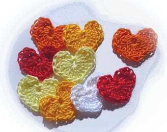 set of 9 crochet hearts
