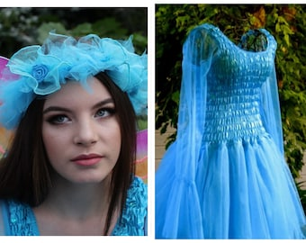 Woman's Fairy Costume ~  Turquoise  Dress ~ Tulle Garland ~ Renaissance Faire ~ Halloween ~ Theatre ~  Cosplay