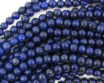 "6mm blue lapis lazuli round beads 15.5"" strand 30235"