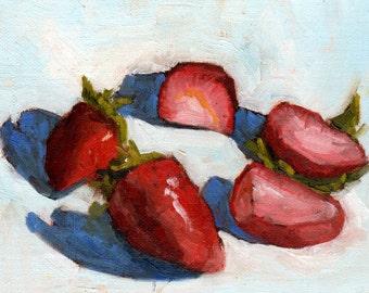 Strawberries Painting, Small Oil Painting, Food Art, Fruit Art by Marlene Lee