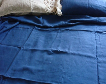 Blue linen pillow case stonewashed linen pillowcase linen pillow cover  by LUXOTEKS