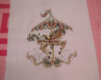 Beautiful carousel horse,  Finished counted cross stitch.