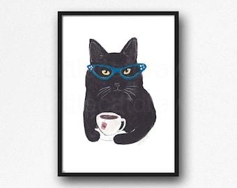 Black Cat Print Cat Drinking Tea Watercolor Print Cat Wearing Glasses Wall Art Illustration Art Wall Decor Print Cat Lover Gift Unframed
