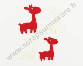 Felt - REINDEER red white - 2 sizes - x 8 pcs