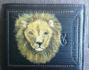 Mens wallet, Lion design
