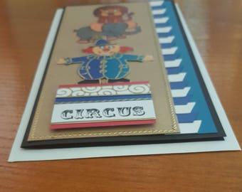Handmade card with a Circus theme, a clown,an elephant & a lion  for a child on any occasion