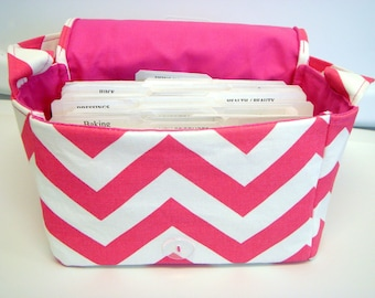 "Large 4"" Size Coupon Organizer / Budget Organizer Holder Box - Attaches to Your Shopping Cart - Hot Pink and White Zig Zag Chevron"